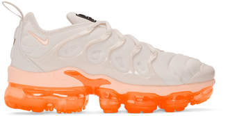 Nike White and Orange Air VaporMax Plus Sneakers
