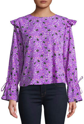 Buffalo David Bitton Floral Tie-Sleeve Blouse