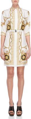 Versace White Medusa Scarf Print Belted Silk Dress
