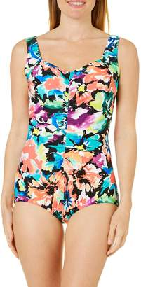 Maxine Of Hollywood Women's Blossom Shirred Front Girl Leg One Piece Swimsuit