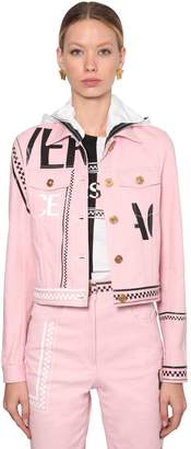 Versace Hooded Logo Printed Cotton Denim Jacket