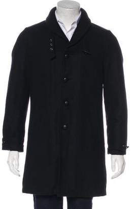 Nom de Guerre Wool Belt-Accented Sherpa-Lined Coat