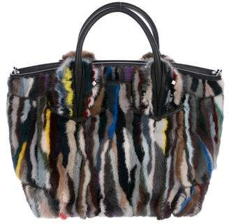 Christian Louboutin Eloise Large Striped Fur Tote w/ Tags