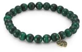 Sydney Evan 14K Yellow Gold, Emerald& Malachite Monstera Bracelet