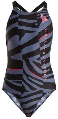 Adidas By Stella Mccartney - Train Zebra Print Swimsuit - Womens - Purple Multi