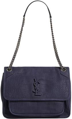 Saint Laurent Large Croc Leather Niki Shoulder Bag