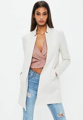 Missguided White Notch Collar Formal Coat