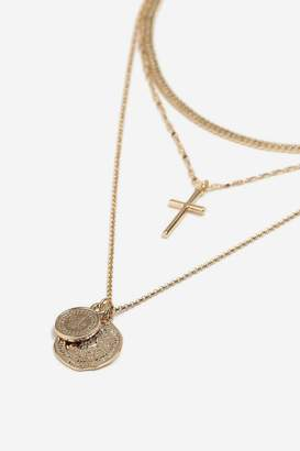 Topshop Coin and Cross Layered Necklace