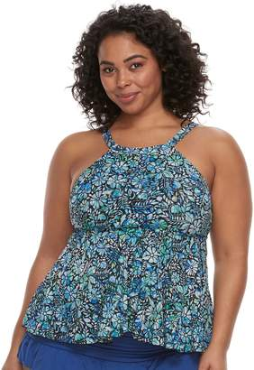 Plus Size A Shore Fit Tummy Slimmer High-Neck Tankini Top
