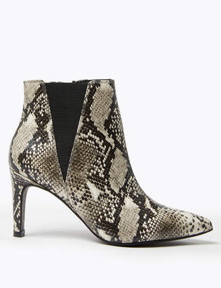 Marks and Spencer Snake Print Stiletto Heel Chelsea Ankle Boots