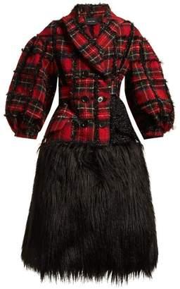 Simone Rocha Checked Tweed Coat - Womens - Black Multi
