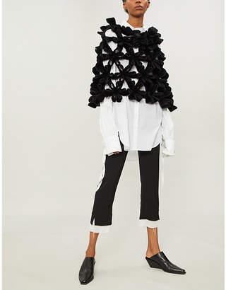 Noir Kei Ninomiya Bonded origami flower-panelled faux-fur top
