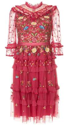 Needle & Thread embroidered frilled dress