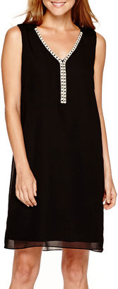 S. L. Fashions SL Fashions Sleeveless V-Neck Shift Dress $40.49 thestylecure.com
