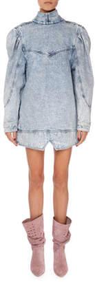 Isabel Marant Rholmy Long-Sleeve High-Neck Denim Dress