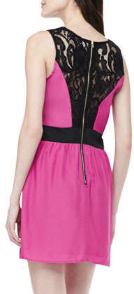 Neiman Marcus Cusp by Lace-Inset Fit-and-Flare Dress