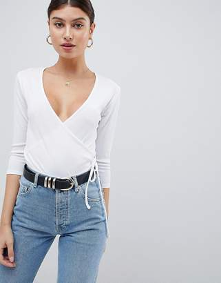 PrettyLittleThing Ribbed Wrap Top