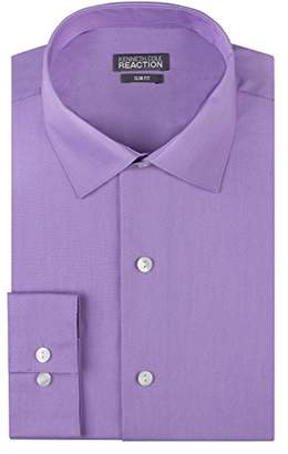 Kenneth Cole Reaction Kenneth Cole Mens Dress Shirts Slim Fit Solid Chambray Spread Collar