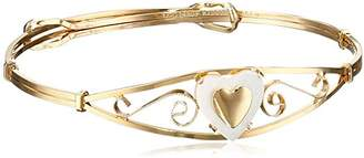 Mother of Pearl Girls' 14k Gold Filled Heart Shaped and Heart Applique Bracelet