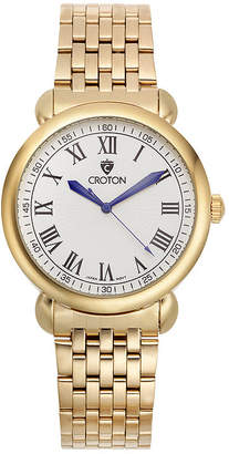 Croton Mens Gold-Tone Stainless Steel Bracelet Watch