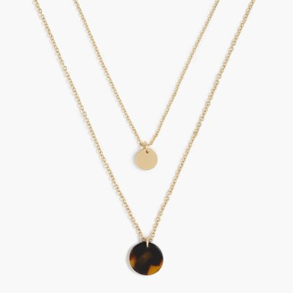 J.Crew Tortoise and gold disc layering necklace