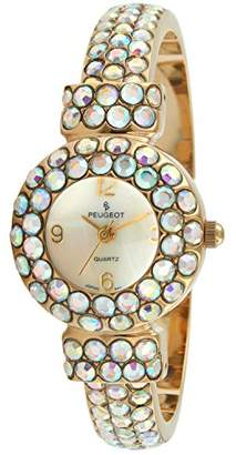 Peugeot Women's 14K Plated Hand Set AB Crystal Glitz Cuff Bangle Bracelet Jewelry Watch 326AB