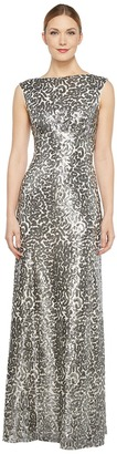 Donna Morgan - Boat Neck Empire Waist Sequin Women's Dress $286 thestylecure.com