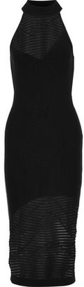 Cushnie et Ochs Paneled Striped Open-Knit Dress