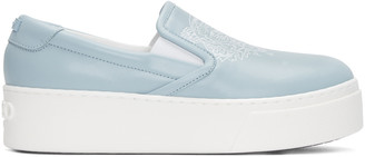 Kenzo Blue Leather Tiger Sneakers $345 thestylecure.com
