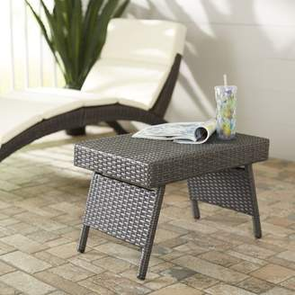 Ellington Leather Goods Wrought Studio Circle Outdoor Foldable Wicker Side Table