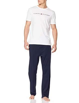 Tommy Hilfiger Men's CN SS Pant Set Logo Pyjama (White/Navy Blazer 103), M