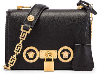 Versace Small Icon Flap Shoulder Bag in Black & Gold | FWRD