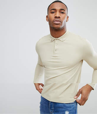 BEIGE Asos Design ASOS DESIGN pique long sleeve polo with button down collar in