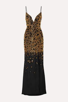 Burnett New York - Bead-embellished Silk-chiffon Gown - Gold