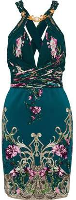 Roberto Cavalli Embellished Gathered Printed Crepe Mini Dress
