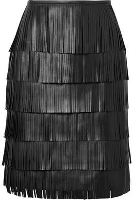 Michael Kors Fringed Leather Skirt - Black