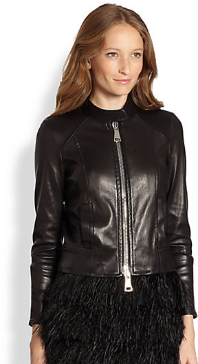 Milly Structured Leather Jacket