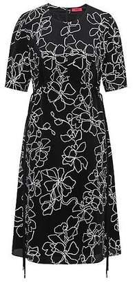 HUGO BOSS Short-sleeved midi dress in printed silk