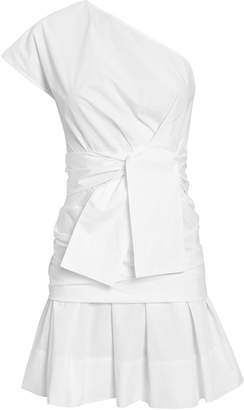 Derek Lam 10 Crosby One Shoulder Gathered Poplin Dress