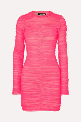 House of Holland Ruched Tulle And Stretch-cotton Jersey Mini Dress - Fuchsia