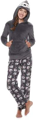 So Juniors' SO Sherpa Sloth Hoodie & Pants Pajama Set