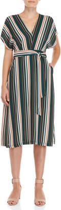 Lush Stripe Belted V-Neck Dress