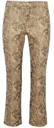 Alice + Olivia Drew Cropped Cotton-Blend Brocade Straight-Leg Pants