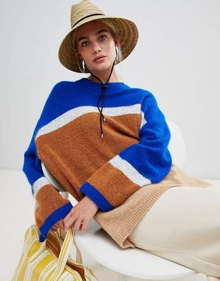 Weekday stripe panel knit sweater in blue and stripe