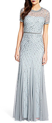 Adrianna Papell Beaded Short Sleeve Gown $320 thestylecure.com