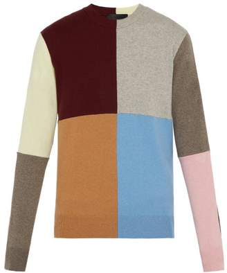 Stella McCartney Patchwork Cashmere Blend Crew Neck Sweater - Mens - Multi