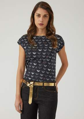 Emporio Armani Jersey T-Shirt With All-Over Eagle Pattern