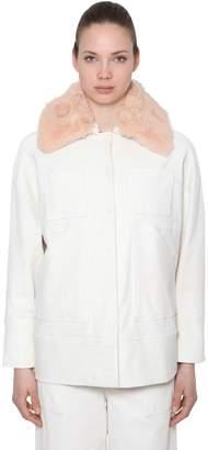 Ganni Corduroy Jacket W/ Faux Fur Collar