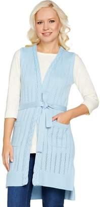 Isaac Mizrahi Live! Pointelle Stitch Sweater Vest with Belt