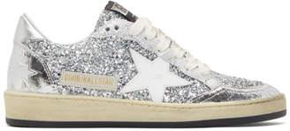 Golden Goose Silver Glitter Ball Star Sneakers